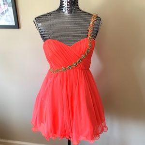 One Shoulder Rhinestone Neon Pink Dress